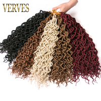 VERVES 6 pack Faux Locs curly Hair 16 inch Crochet Braid hair 24 strands/pack Synthetic Braiding Hair extensions brown red