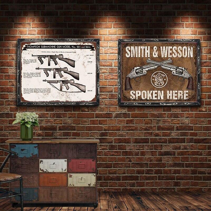 Metal Tin Sign thompson submachine gun Home Vintage Retro Poster Cafe ART