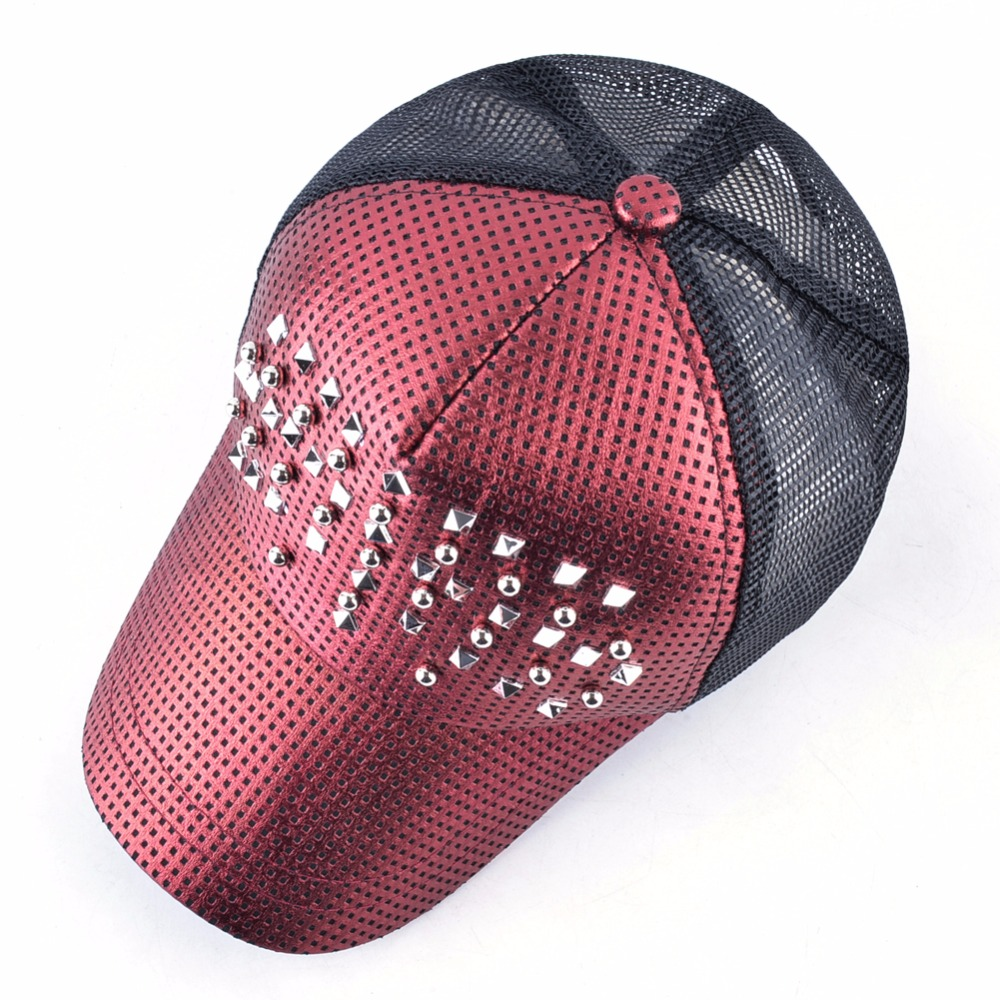 Fashion Women Baseball Cap Men Shinning Hip Hop Casquette Rivet Snapback ca0f5ebea3bb