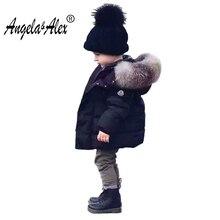 Angela&Alex 2017 New Arrival Children Winter Jacket for Girls Boys Big Fur Hooded Warm Cotton Padded Parka Kids Unisex Outwear
