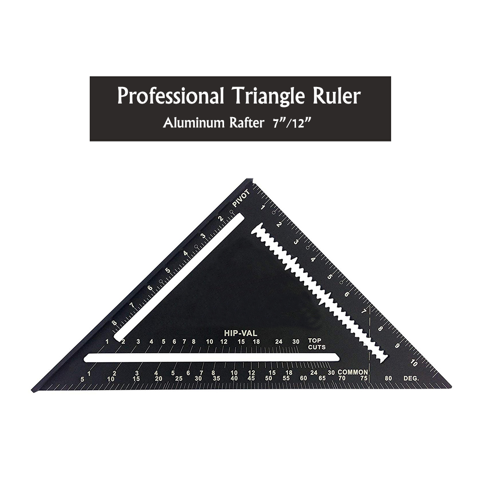 Professional 7/12 Inch Black Aluminum Triangle Ruler Easy-Read Rafter Square Measuring Layout Ruler For Art Drafting Supplies