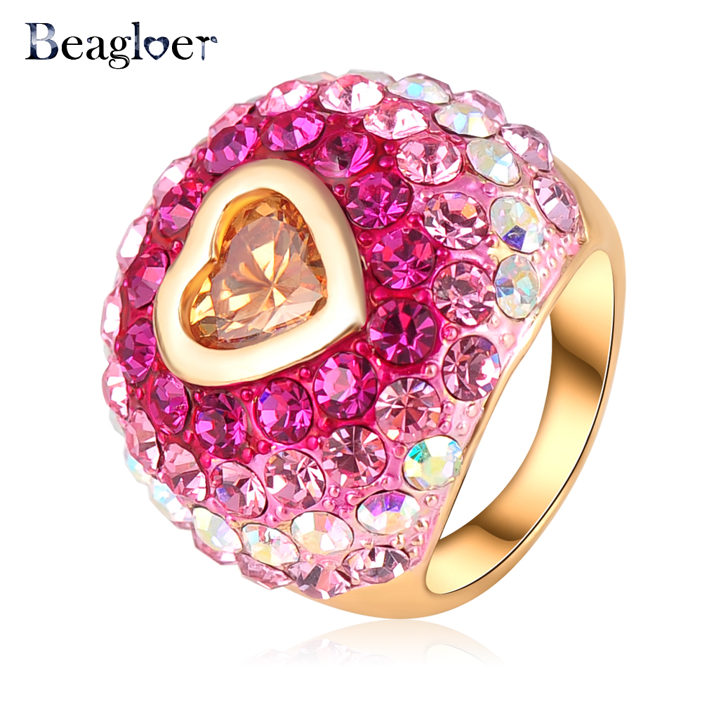 Beagloer Romantic Christmas Gift Colorful Austrian Crystal Love Ring ...