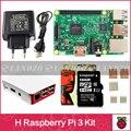 H starter kit-pi Raspberry Pi 3 Modelo B 3 placa/pi 3 case/fonte de alimentação Europeia/16G cartão de memória/calor pia