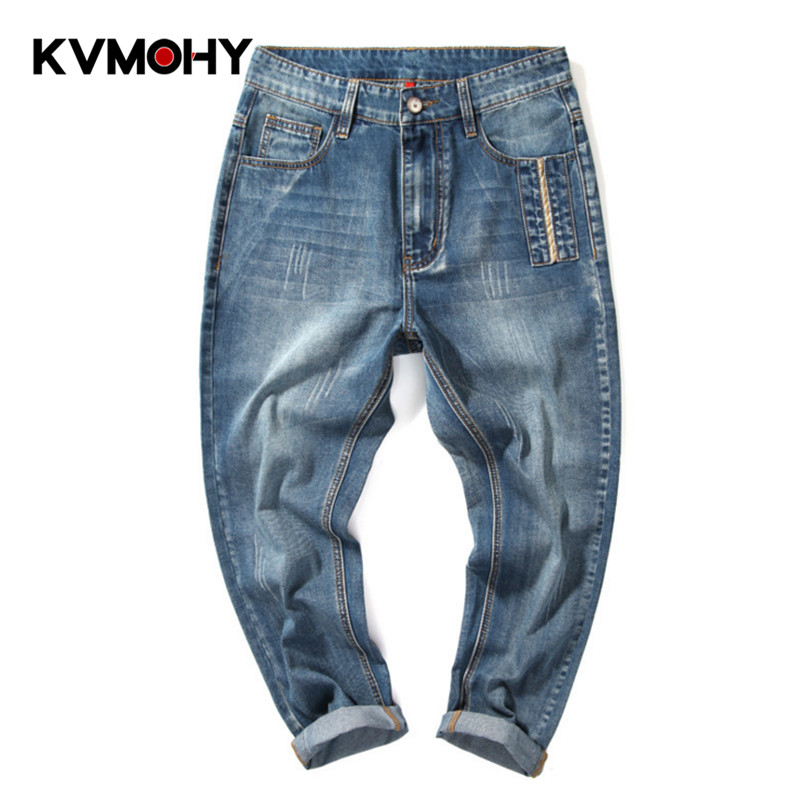 Cool Men Jeans Baggy Blue Trousers Cotton Casual Male Waist Washed Loose Denim Pants New Hiphop Streetwear Masculino Pantalon