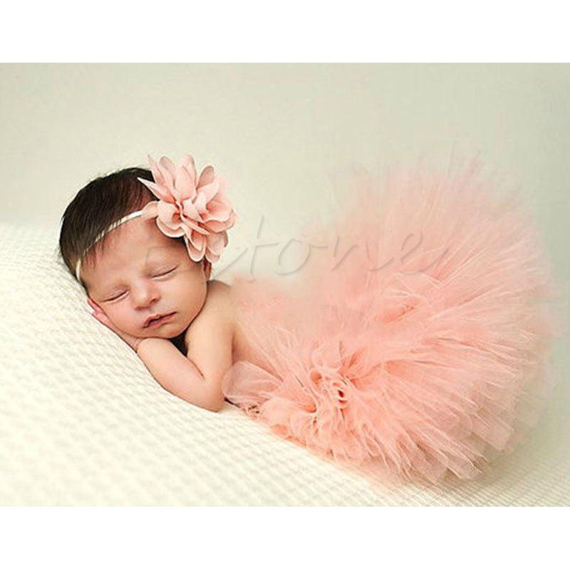 Cute Toddler Newborn Baby Girl Tutu Skirt & Headband Photo Prop Costume Outfit -P101 1set baby girl polka dot headband romper tutu outfit party birthday costume 6 colors