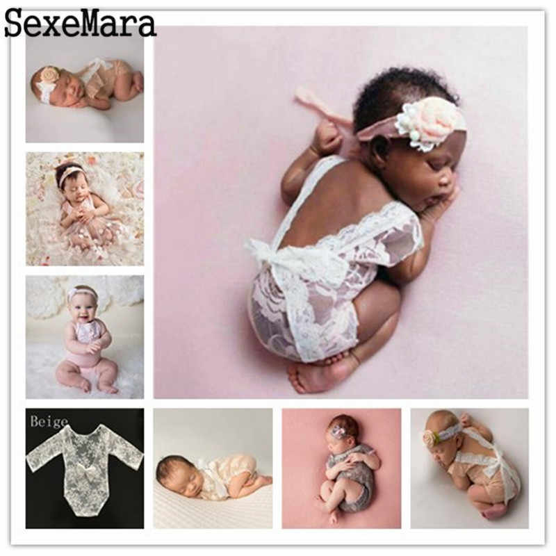 Newborn Photography Props Baby Girl Lace Romper Infant Photo Shoot Clothes White Black V Cut Open Back Romper