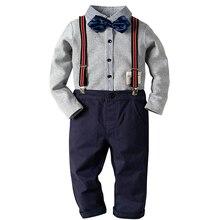850614583b9dd Bébé garçon vêtements garçons vêtements ensemble chemise + pantalon à manches  longues chemise Gentleman deux costumes
