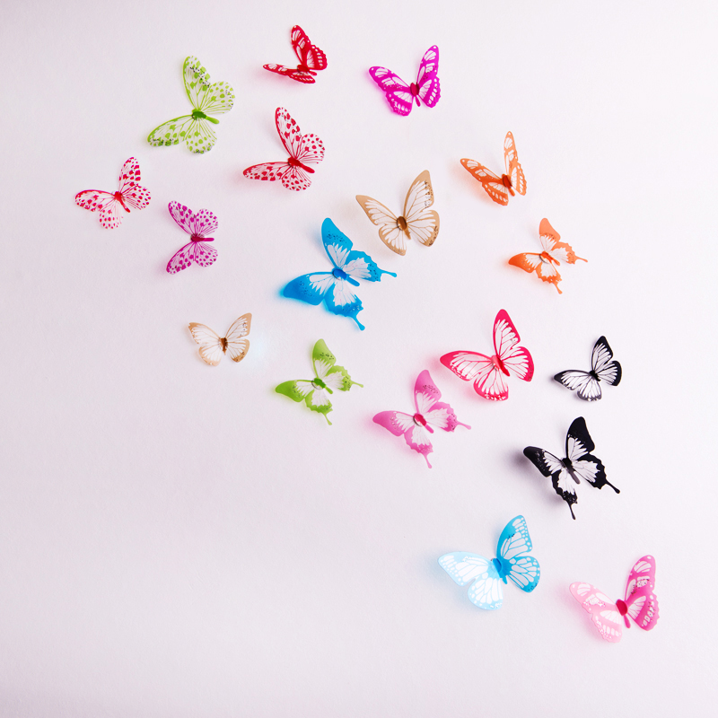 18pcs lot 3D Effect Crystal Butterfly Wall Stickers Beautiful Butterflies For Kids Room Wall Decals Home Decoration On the Wall in Wall Stickers from Home Garden