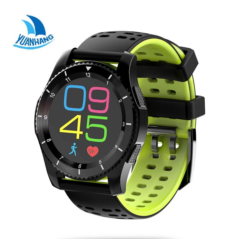 Smart Bluetooth SIM TF Carte de Fréquence Cardiaque Podomètre Fitness Moniteur GPS Record Sédentaire Rappeler Montre-Bracelet pour Android IOS