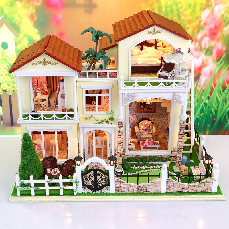 New Arrive large Doll House villa Model Building Kits Miniature Diy Wooden Dollhouse Furniture toy Birthday Gift 13833