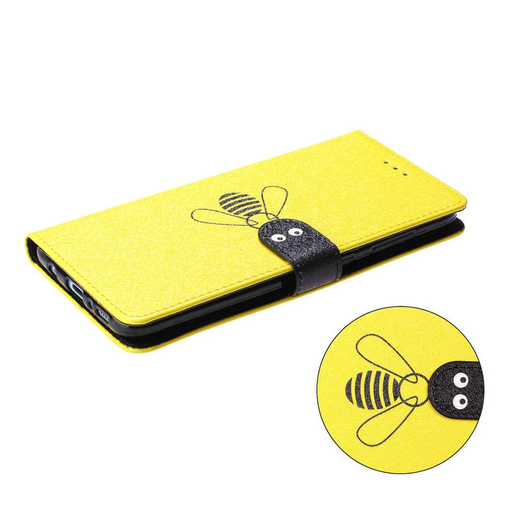 Bee Flip Leather Phone Case For Samsung Galaxy A10 A20 A20E A30 A40 A50 A70 M10 M20 M30 Wallet Card Slot Holder Back Cover Coque in Flip Cases from Cellphones Telecommunications