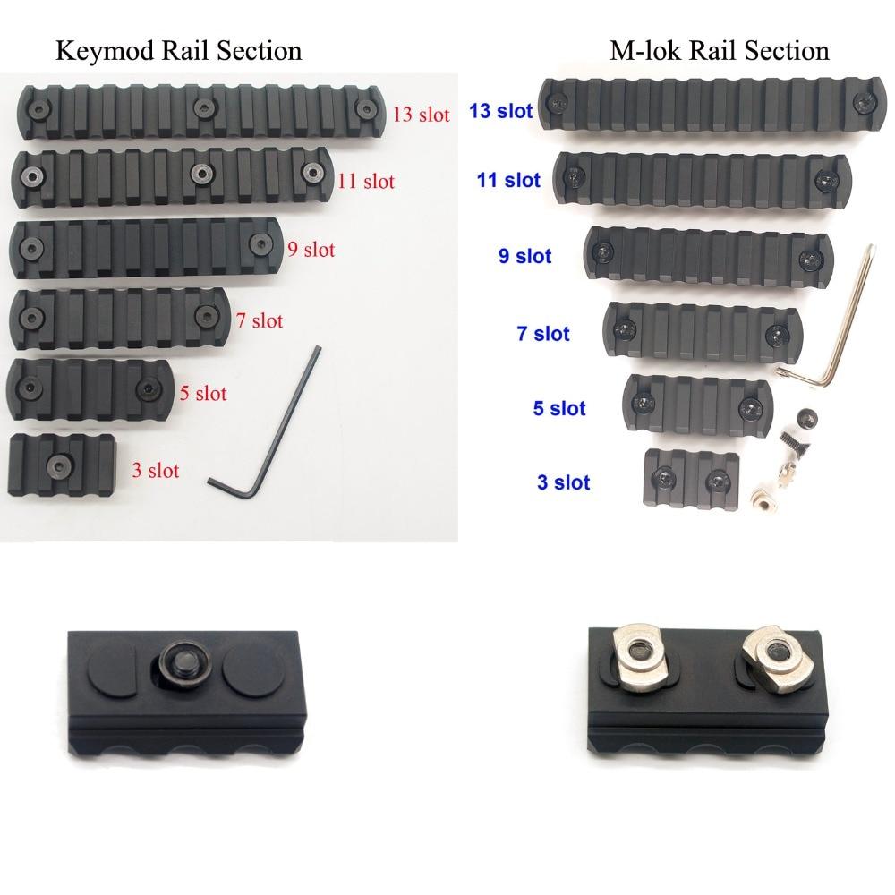 Рельсовые секции Aplus 3/5/7/9/11/13 для Keymod / M-lok Handguard Picatinny/Weaver Mount Adapter_Black Anodized