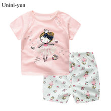 Kids Clothes Set Baby Boy Girl Clothes Suit Toddler girls Clothing short Sleeve Tshirt Pants Casual Tracksuits Children Clothing(China)