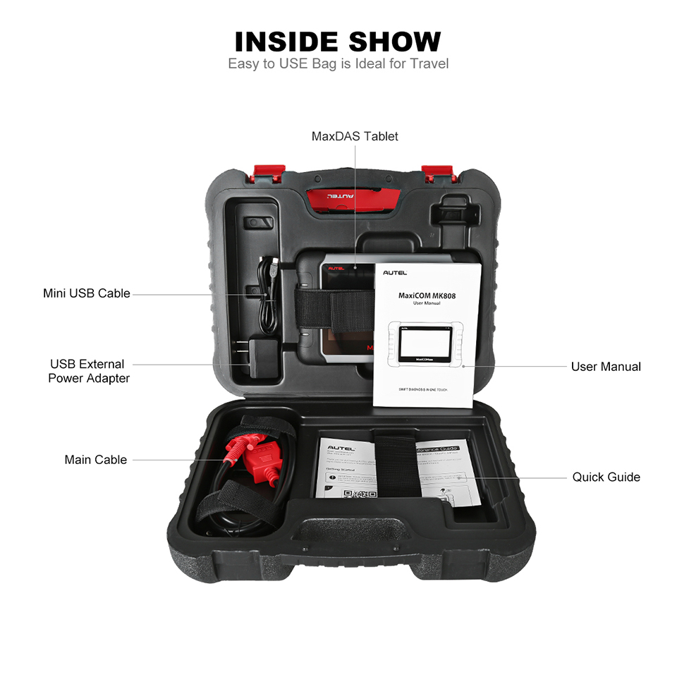 Image 3 - Autel Original MaxiCOM MK808 Diagnostic Tool 7 inch LCD Touch Screen Swift Diagnosis Functions of EPB/IMMO/DPF/SAS/TMPS and More-in Engine Analyzer from Automobiles & Motorcycles
