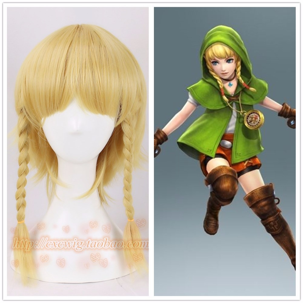 Hyrule Warriors Cosplay Wig Female Linkle Golden Braids Women Link Rinkuru Synthetic Hair for Adult Role Play