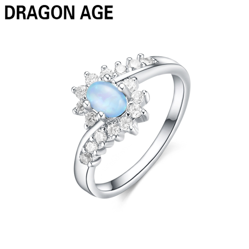Age Brand Engament Trendy Fine Silver Plated 925 Oval Opal Blue Crystal Zircon Rings Female Weddings Rings Jewelry Gift