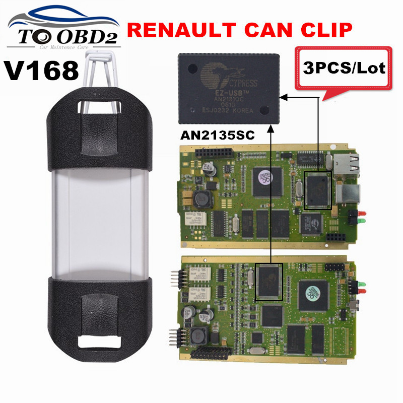 Цена за 3 шт./лот Renault может закрепить V168 PCB золота с Cypress AN2131QC Высокое качество Multi-Язык Renault тестер может закрепить Best Распродажа