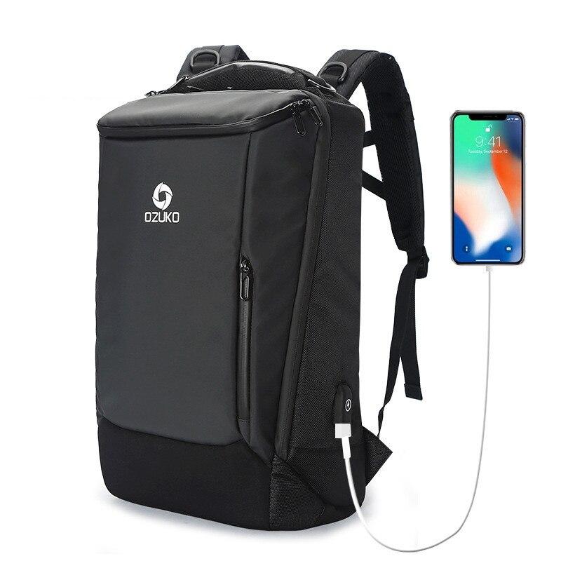 Bagaj ve Çantalar'ten Sırt Çantaları'de OZUKO Erkekler Sırt Çantası 17 inç Dizüstü anti hırsızlık Su Geçirmez Çok Fonksiyonlu USB şarj portu seyahat sırt çantaları Büyük yağmur kılıfı Erkek'da  Grup 1