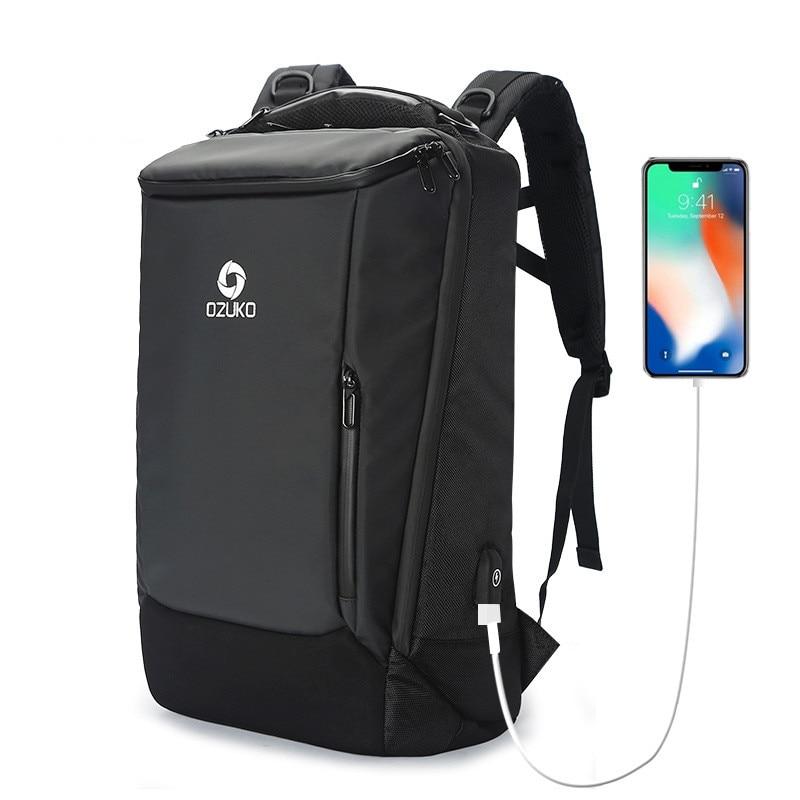 OZUKO Men Backpack 17 inch Laptop Anti-theft Waterproof Multifunction USB Charging Port Travel Backpacks Large Rain Cover Male цена