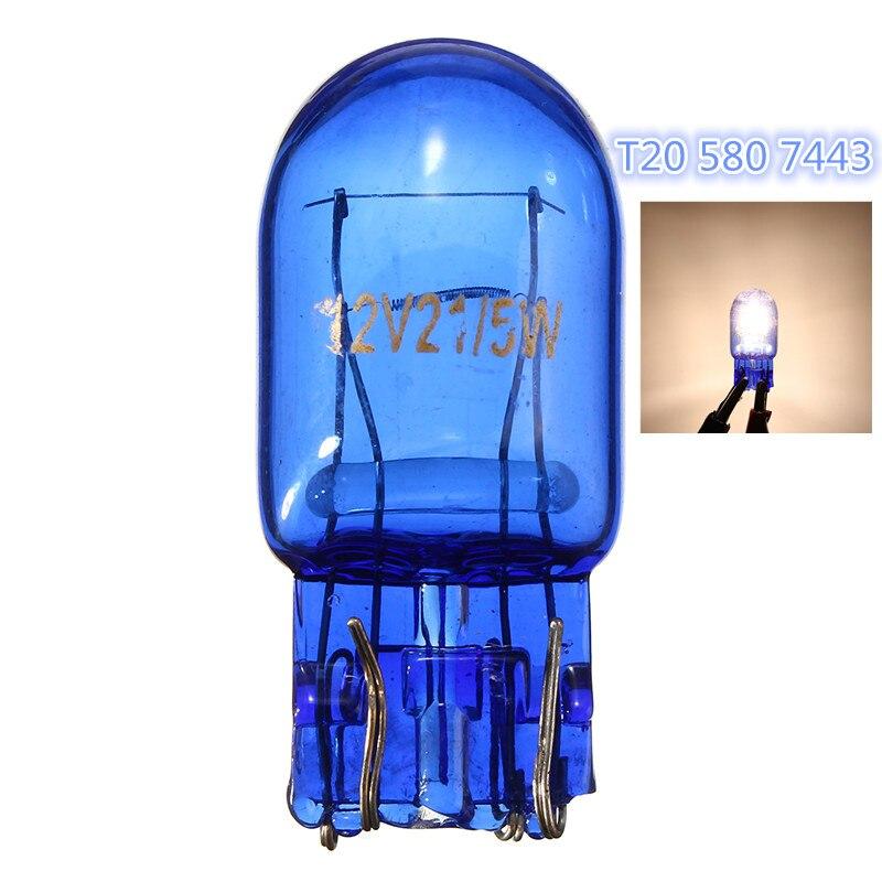 10 pcs T20 Naturel Bleu En Verre 580 7443 1891 12 V 21/5 W DRL Turn Signal D'arrêt De Frein Tail Light Car Ampoule Auto Lampe Super Xenon Blanc