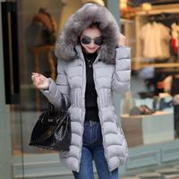 Women Hooded Parkas Raccoon Fur Collar Zipper Casual Outwear Coat Thick Warm Down Cotton Ladies Parka Autumn Winter 2019 Fashion