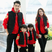 Family Sets 3pcs Hoodie Pants Vest Cotton Autumn Winter Warm Clothing Suits Family Matching Outfits Outwear