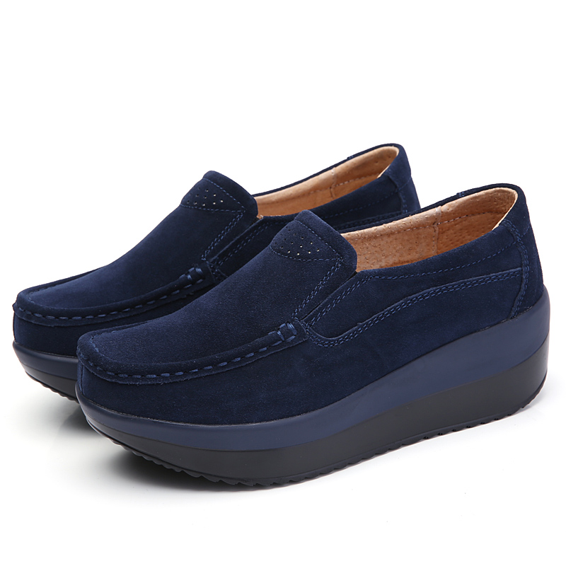 TESILIXIEZI Brand Autumn New Moccasins Women Platform Loafers Ladies Elegant Genuine Leather Fashion Slip On Female Casual Shoes in Women 39 s Flats from Shoes