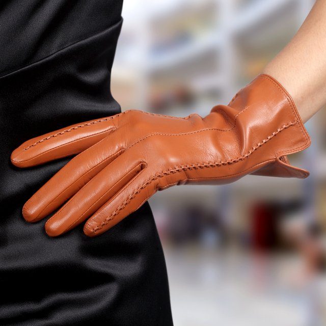 bb981bf29 High Quality Autumn and Winter Elegant Ladies Branded Designer Hot Trendy  Plus Velvet Genuine Lambskin Leather Gloves For Women