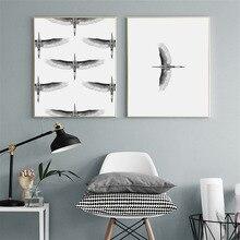 HAOCHU Nordic Modern Minimalist Eagle Bird Animal Personality Living Room Decoration Painting Canvas Print Poster Wall Artwork