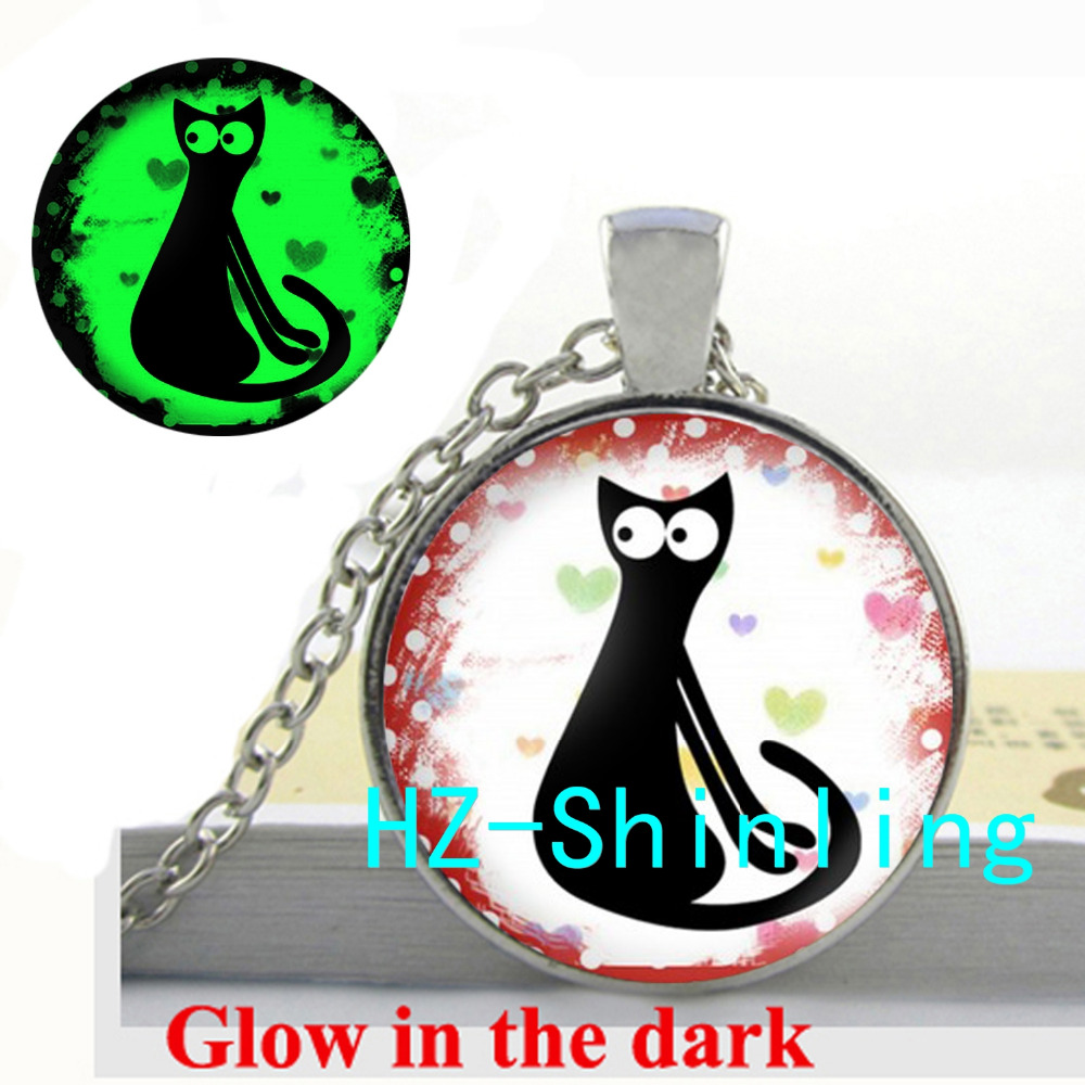 Glowing Jewelry Black Cat Pendant Necklace Curious Cat Pendant Glass Cabochon Jewelry Glow in The Dark