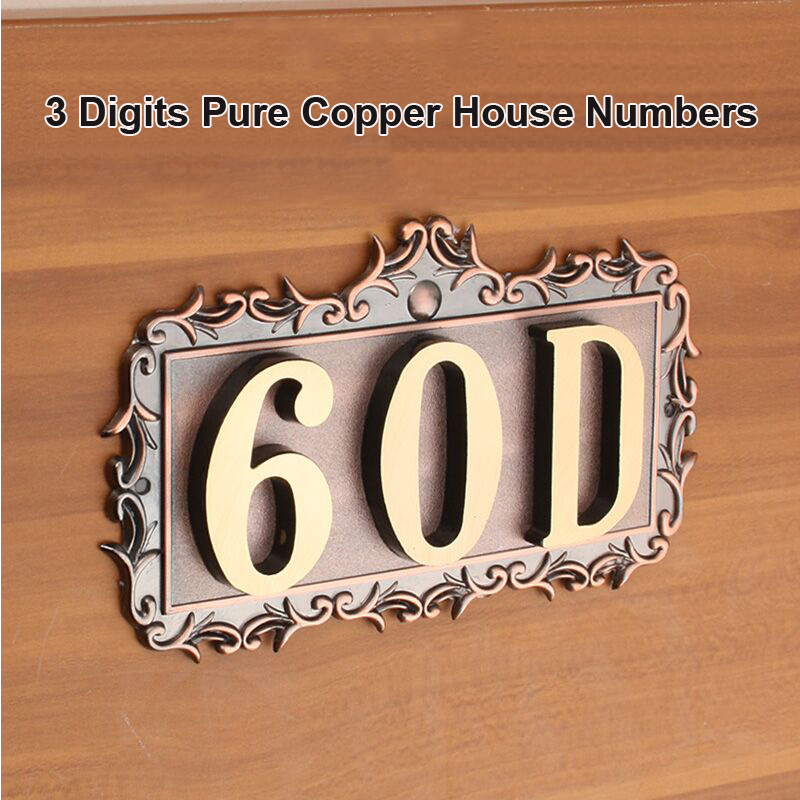 3 Digits House Number 155*83*2.5mm European Style Pure Copper Gate Numbers