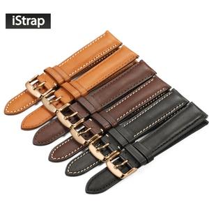Image 1 - IStrap 18mm 19mm 20mm 21mm 22mm Armband Aus Echtem leder Uhr band armband Mit Rose gold Pin schnalle für Tissot Omega IWC