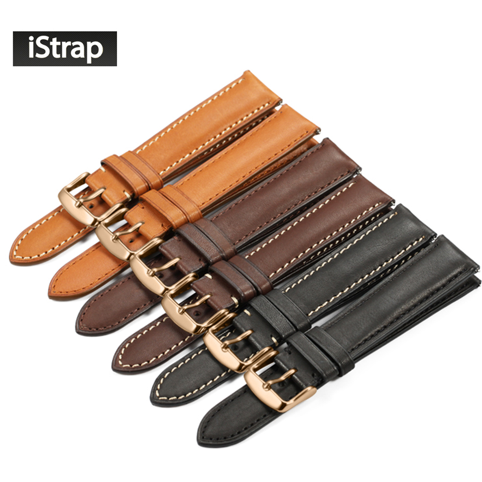 iStrap 18mm 19mm 20mm 21mm 22mm Watchband Genuine leather Watch band Watch strap With Rose gold Pin buckle for Tissot Omega IWC jowissa часы jowissa i 0321 s коллекция special
