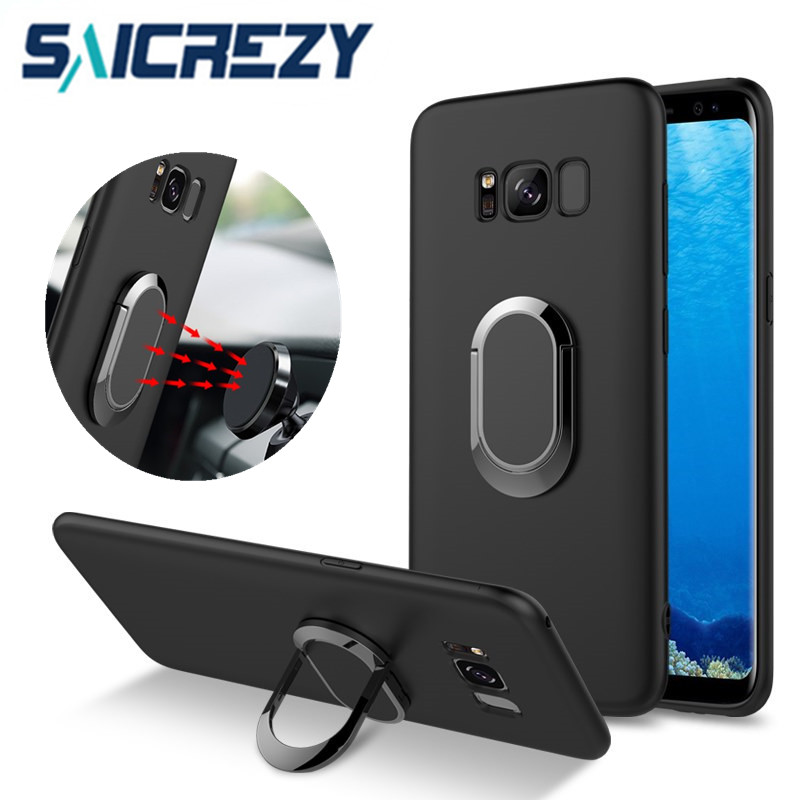 Saicrezy Case for Samsung Galaxy S8 Car Holder Stand Magnetic Suction Finger Ring TPU protective For Samsung Galaxy s8 Plus Case