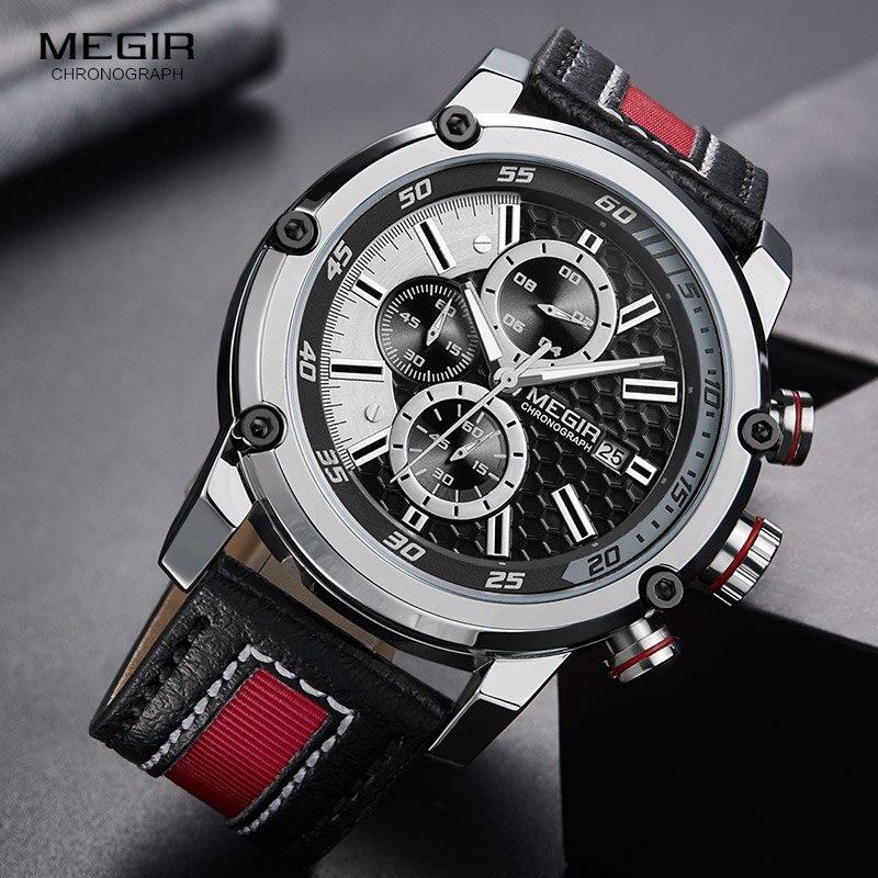 Image 2 - Мужские кварцевые часы MEGIR, водонепроницаемые часы с кожаным ремешком, модные наручные часы с секундомером, светящиеся стрелы 2079GBK 1Спортивные часы   -
