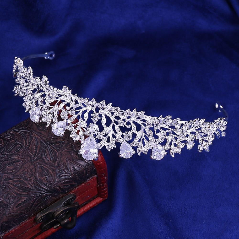 5 - Luxe Noble Feuille De Cristal, Bijoux De Mariée Strass Couronne Diadèmes Collier Boucles D'oreilles, Perles Africaines,
