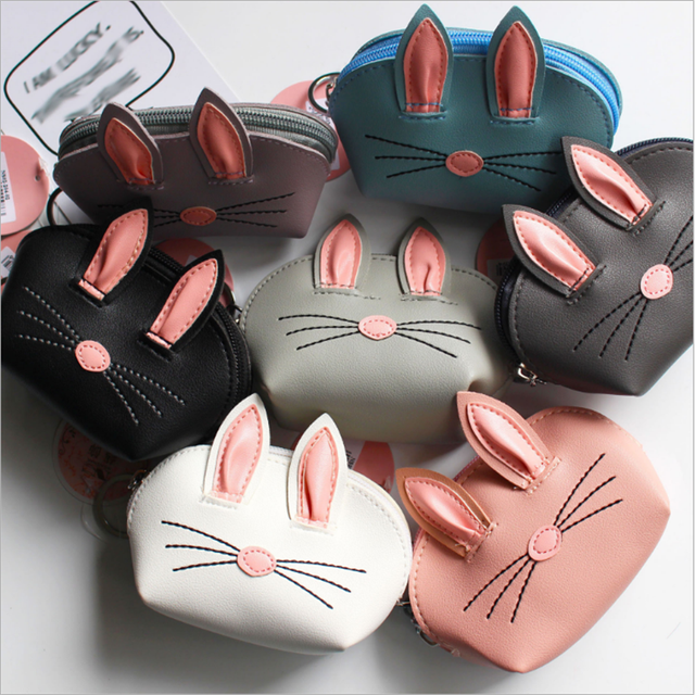 New Personality Cartoon Three-dimensional Rabbit Ears Purse Lady Cute Small Wallet Storage Bag Key Chain Coin Pouch