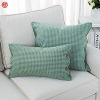 LUCKY TEXTILE 2pcs Set Grid Cushion Cover Gray Stripe Cotton Polyester Throw Pillowcase 45 45cm 50