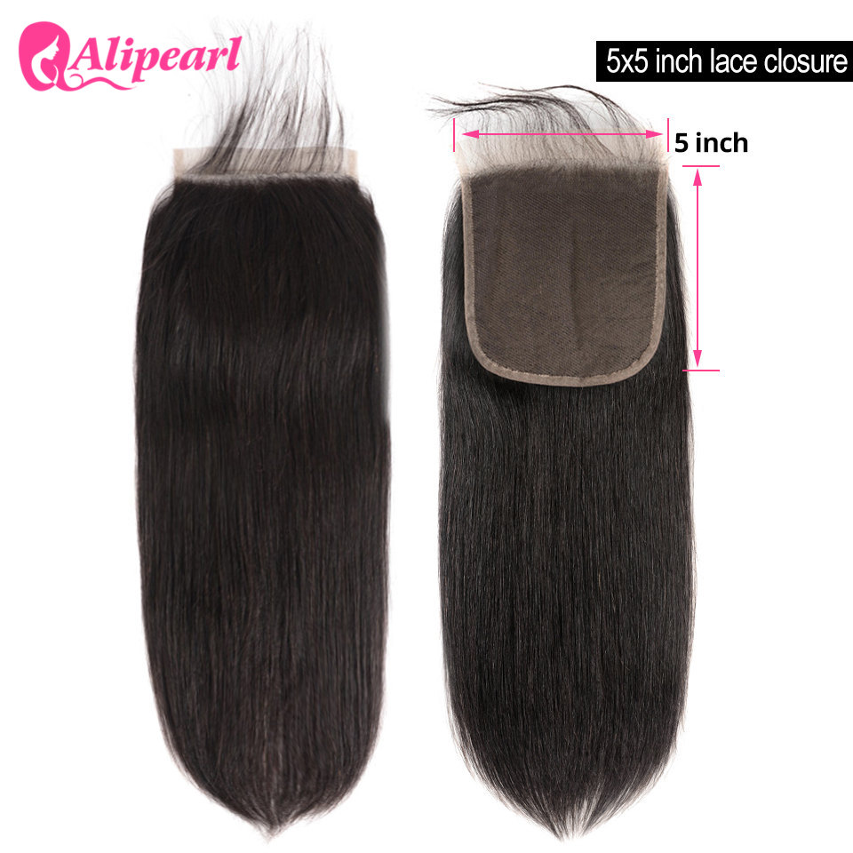 5X5 Lace Closure Brazilian Straight Human Hair Closure With Baby Hair Free Part Swiss Lace Remy Natural Color AliPearl Hair