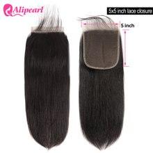5X5 бразильские прямые человеческие волосы на шнуровке, застежка с детскими волосами, свободная деталь, швейцарские кружева, Реми, натуральн...