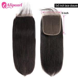 5X5 бразильские прямые человеческие волосы, закрытие с детскими волосами, свободная часть, швейцарское кружево, Реми, натуральный цвет, волос...