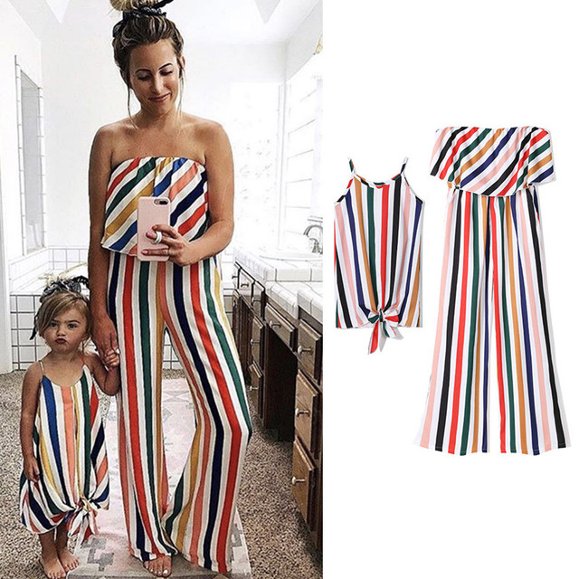 1b8d9bec578 One Piece Women Jumpsuit Mother and Daughter Matching Dress Family Look  Shouldless Striped Outfits Mom Daughter Clothes H0115