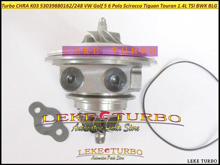 Turbo cartridge CHRA K03 53039880248 53039880162 53039880142 For VW Golf 5 6 Polo Scirocco Tiguan Touran 1.4L TSI BWK BLG CAVB k03 turbo chra 53039880139 53039880132 53039880205 for volkswagen eos golf v golf vi passat b6 scirocco tiguan 2 0 tdi turbo kit