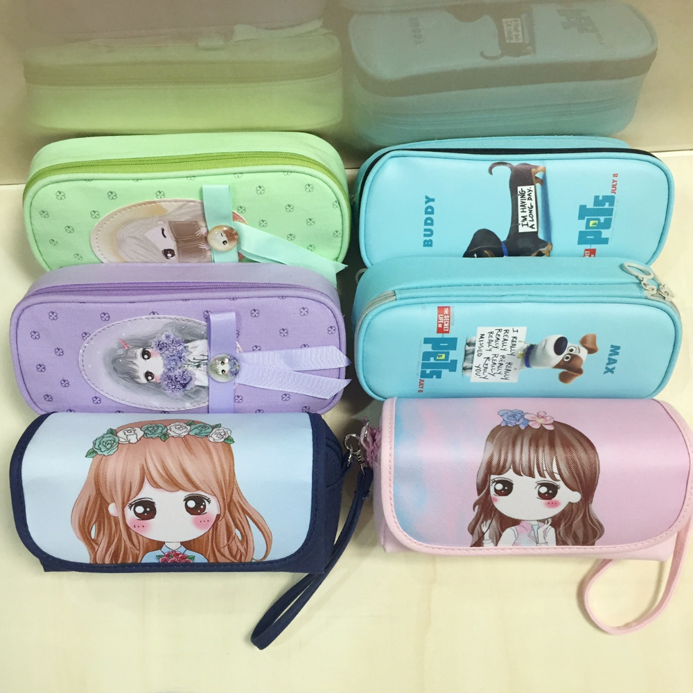 pencil bag hight quanlity PU pencil case and students canvas fabric blue /pink/ purple/ green color bag  stationery point systems migration policy and international students flow