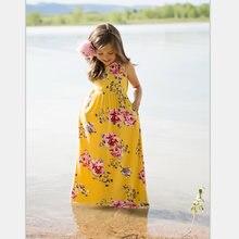 cee5554a5f5 Sans manches famille correspondant robes d été longue robe à fleurs pour  mère fille plage