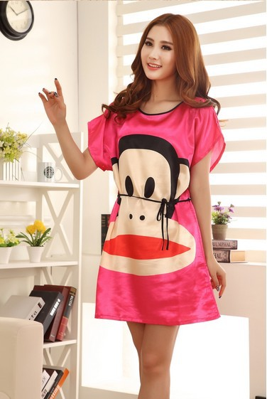 76d490b77cc Cute Girl Casual Sleepwear Women Print Character Novelty Nightgowns Lady  Nightdress Lounge Silk Nightwear Plus Size Nightgown-in Nightgowns    Sleepshirts ...