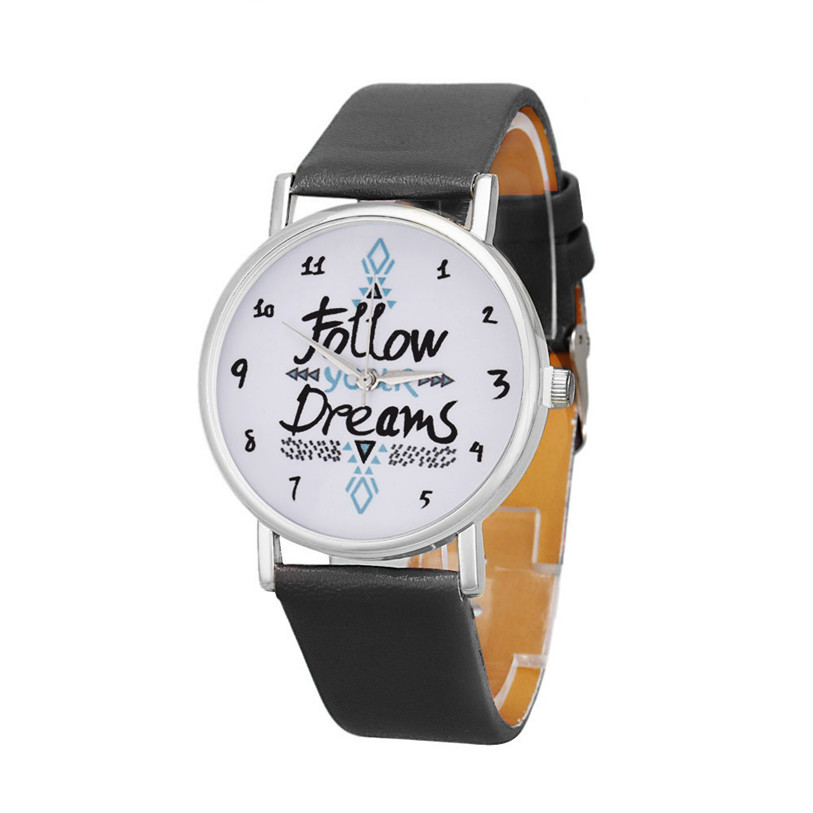 Superior New Women Follow Dreams Words Pattern Faux Leather Wrist Watch May19