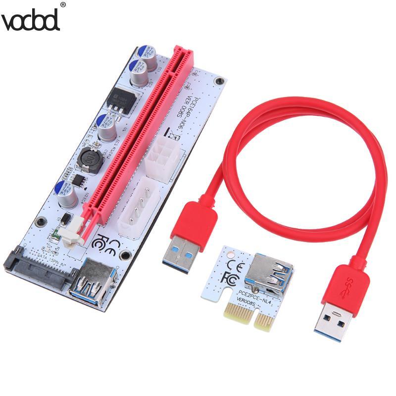 PCI Express PCI-E Riser Card 1X à 16X USB 3.0 adaptateur Carte 60 cm Extension Câble Fil pour BTC Mineur Machine l'exploitation minière
