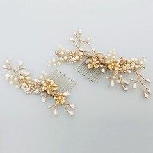 Jonnafe Nuevo Diseño de Oro Rama de La Flor Peine Del Pelo de La Perla Joyería Del Pelo de la Boda Accesorios Nupciales de La Vendimia Peines Headwear
