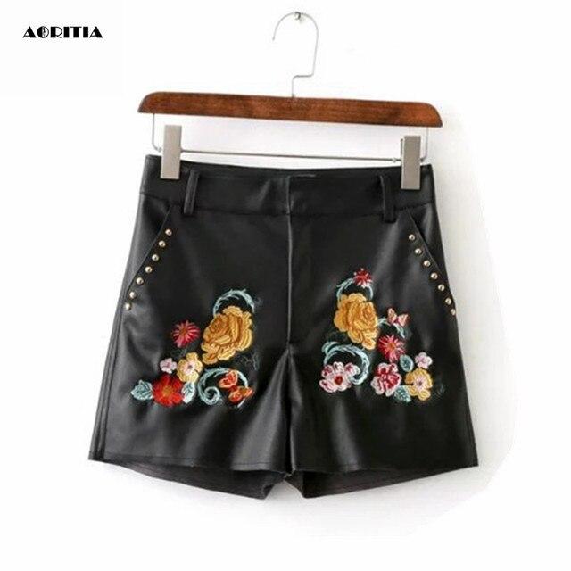 2016 Women Autumn Embroidery Faux Leather Short Pants Fashion Rivet PU Shorts Palazzo Shorts Women